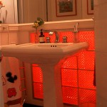 Bathroom with red neon on.