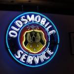 Oldsmobile sign restored .